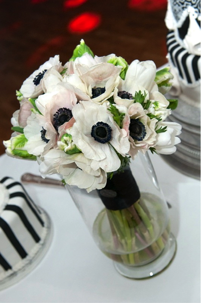 Loveday floral designs wedding flowers loveday floral design beths beautiful bouquet of black and white anemones green and white parrot tulips pure white tulips hand tied and wrapped in black silk mightylinksfo